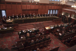 Court hearing during the Kosovo Adviosry Opinion proceedings