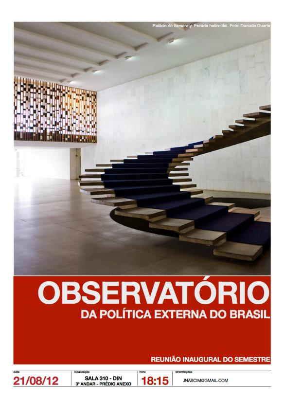 Cartaz da Reunião Inaugural do Observatório