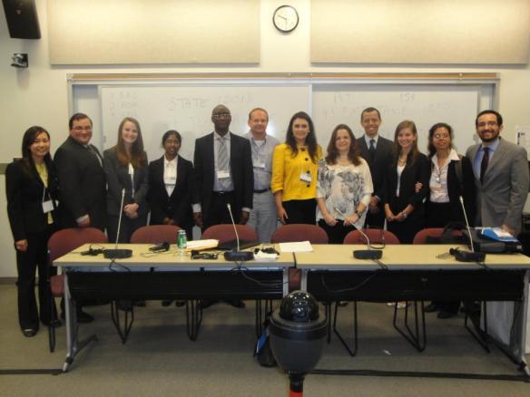 Oradores e juízes na Competição de Julgamento Simulado da Corte Interamericana de Direitos Humanos, da American University, 2012