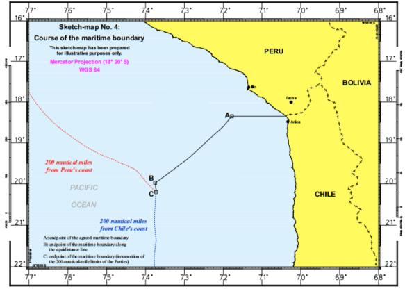 Imagem: Mapa esquemático da nova fronteira marítima, apresentado na sentença da CIJ. Fonte: senteça da CIJ sobre a disputa marítima entre Chile e Peru.[3]